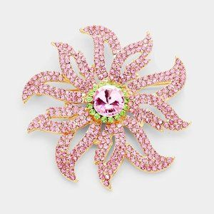 Flower Pink & Green Crystal Pave Pin Brooch